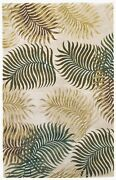 Rugs - Na Pali Tropical Ferns Hand Tufted Wool Rug - Natural - 8and039 X 10and0396