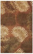 Rugs - Na Pali Tropical Ferns Hand Tufted Wool Rug - Rust - 8and039 X 10and0396