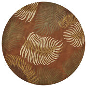 Rugs - Na Pali Tropical Ferns Hand Tufted Wool Rug - Rust - 7and0396 Round