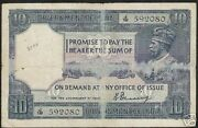 India 10 Rupees P-7 A 1917 King George V Denning Rare Currency Bill Indian Note