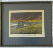 Currier And Ives Lithograph Prairie Fires Of Great West Framed Fair Condition