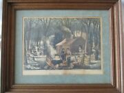 Currier And Ives Lithograph Maple Sugaring Framed Good Condition - Read Notes