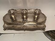 English Sterling Silver And3 Ink Wells Stamped An Signed By Artist T 24