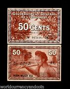 French Indo China 50 Cents P87 D 1939 Woman Unc Vietnam Currency Money Bank Note