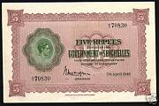 Seychelles 5 Rupees P8 1942 King George Vi Unc Consecutively Running Pair Note