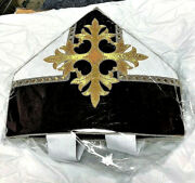 Bishop's Mitre Catholic Vestment Made In Usa Burgundy And White