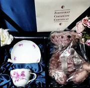 Meissen And Steiff Tea Cup Teddy Bear Rose Set Japan 1500 Limited From Japan Ems