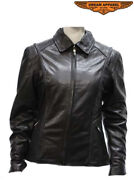 Womenand039s Heavy Duty Black Split Cowhide Leather Jacket Fold And Snap Collar Vents