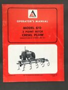 Allis-chalmers Operators Manual Model 610 3 Point Hitch Chisel Plow
