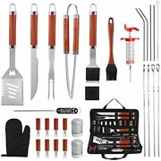 30pcs Bbq Grill Tools Set With Thermometer And Meat Injector. Extra Thick Steel