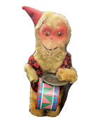 Vintage 8 Wind Up Toy Mechanical Drum/cymbal Beating Monkey-works