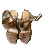 Charlotte Russe Size 6 Womens Open Toe Strappy Tan Wedges