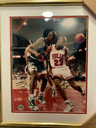 Michael Jordan And Shaquille Oand039neal Rebound Signed 20 X 24 Framed Photo With Coa
