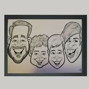 4 Person Caricature From Photo B/w A3 - Hand Drawn Cartoon - Personalised