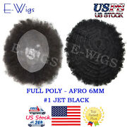 Afro Curly Mens Toupee 10x8 Full Poly Pu African American Human Hair System 1