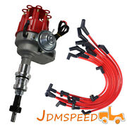 10.5mm Spark Plug Wires And Red Cap Hei Distributor Fit Small Block Ford 289-302