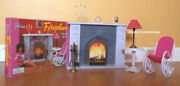 Gloria Dollhouse Barbie Furniture Size Fireplace Playset W Chair And Table 96006