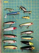 Lot Of 15 Top-water Fishing Lures Top Dog Bass Redfish Pike Musky Popper