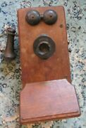 Old Antique Kellogg Wood Wall Telephone Case Only
