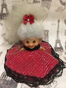 Vintage Thomas Dam Troll Doll With A Fancy Outfit And Beautiful Long White Hair