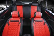 Full Set Red And Black Car Seat Covers Pu Leather Universal Dog Pet Protector