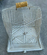 Art Deco 1920and039s Antique Heavy Metal Silver Bird Cage 18 Square Spider Web Style