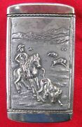 Fine Nickel Plated Antique Cowboy Roping A Buffalo Match Safe Patent Dated 1904