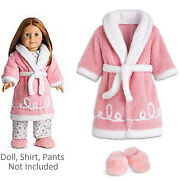 American Girl Emily Robe And Slippers For 18 Doll Pink Clothes Outfit Retired New