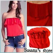 Nwt Bebe Red Fringe Strapless Tube Top Size M Adorable Chic And Sexy