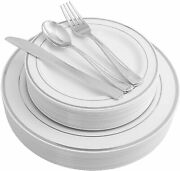 Plastic China Plate Silverware Combo White With Silver Reflection Masterpiece