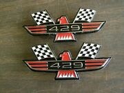 Ford 429 Crossed Flag Fender Emblems Red Mustang Fairlane Galaxie Falcon 1969 +