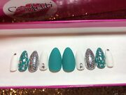 Teal Turquoise Press On Nail Set Glue On Silver Foil Glitter White Bling