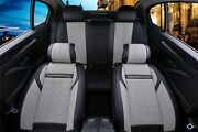 Full Set Black And Grey Car Seat Covers Pu Leather Universal Dog Pet Protector