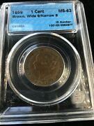 1859 Wide 9/8 Cccs Graded Canadian Large One Cent Ms-63