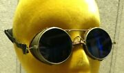 Antique Aviator Motorcycle Goggles Sunglasses Cobalt Blue Lenses Steampunk Bs