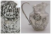 International Sterling Silver Hammered Water Pitcher Thistle Repousse C1900