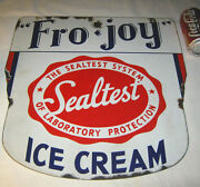 Antique American Babe Ruth Fro Joy Porcelain Ice Cream Art Advertising Dbl Sign