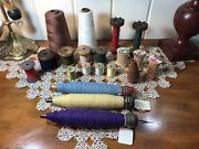 Assorted Lot Of 20 Wood Antique Spools Industrial Textile Cone Corticelli