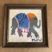 Elephant Picture Vintage 9 Needlepoint Picture Hand Made Mid Century Folk Art