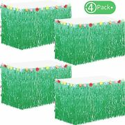 4 Packs Hawaiian Table Skirt Grass Skirts Luau Hibiscus Fringe For Party Events,