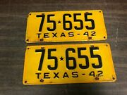 Vintage Ford Chevy Dodge 1942 Texas License Plate Frames Matching Pair Original