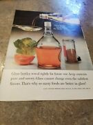 1961 Vintage Print Ad Glass Container Manufacturing. Glass Bottles Never Change
