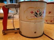 Antique Vtg Androck Hand-i-sift Flour Sifter Red Wooden Handle U.s.of A.deal