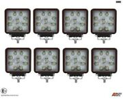 Eight Hq 27w Led 4and039and039 Square Led Work Lights Lamps Lorry Tractor Offroad 1696lm