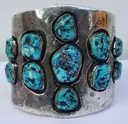 Vintage Native American Sterling Silver Turquoise Heavy Wide Cuff Bracelet 190g