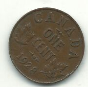 A Very Fine Vf 1928 Canada Small One Cent-agt006