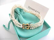 And Co 18k Gold Picasso Multi Strand Pearl Bracelet Bangle 8 In Gift Pouch