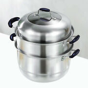 2-tier Stainless Steel Steamer Pot 12 Inch Steam Pot Set Cooking Pot With Lid