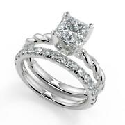 1.7 Ct Princess Cut Twisted Rope Solitaire Diamond Engagement Ring Set Si2 D 18k