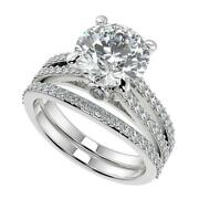 2.75 Ct Round Cut Double French Split Shank Diamond Engagement Ring Set Si1 D